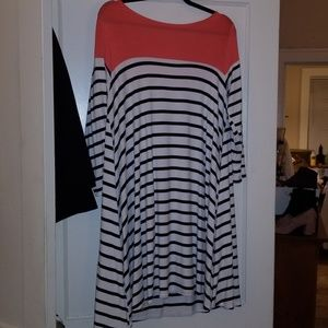 Black and white stripped dress with coral